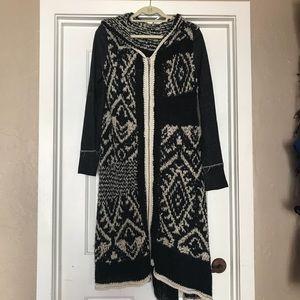 Free People Long Knit Zip up Cardigan w/ Hood